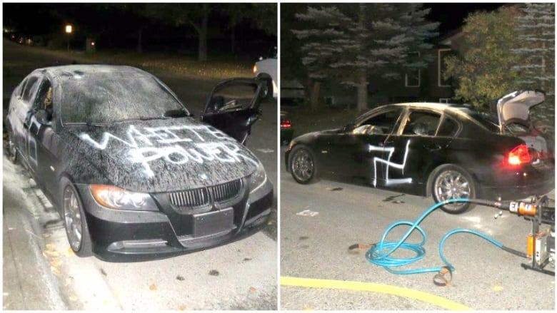 Racist graffiti spray painted on car set on fire in northeast