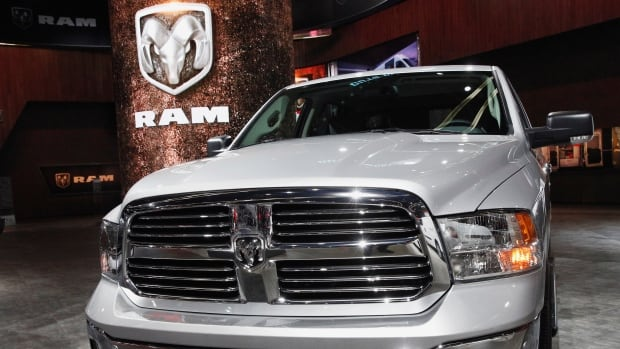 A Dodge Ram pickup truck is displayed during the North American International Auto Show in Detroit, Mich., in this Jan. 2017 photo. Fiat Chrysler is recalling more than 490,000 Ram trucks due to an issue with water pumps.