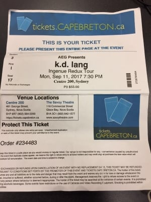 k.d. lang ticket