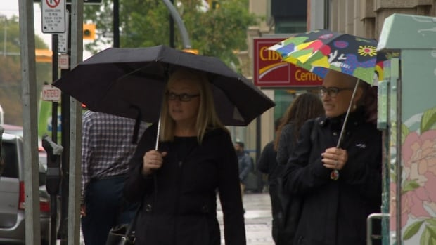 The weather called for umbrellas for the first time in weeks in Regina on Tuesday.