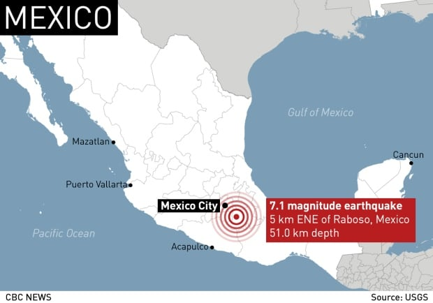 Mexico earthquake map Sept 19 2017