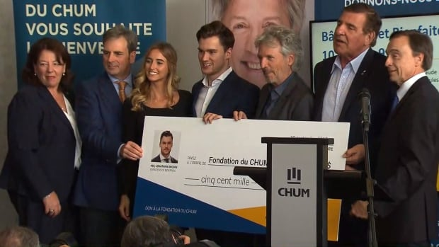 At 22, Montreal Canadiens winger Jonathan Drouin, centre, is one of the CHUM Foundation's youngest donors.