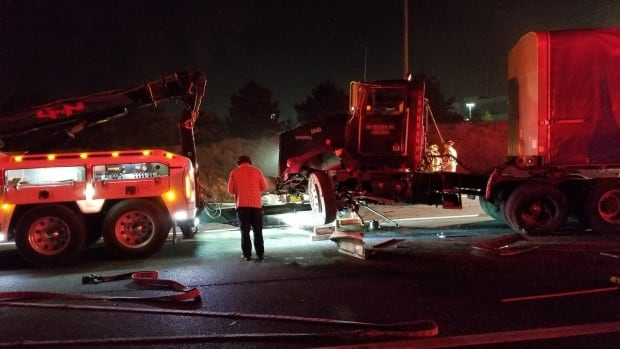 A collision involving two transport trucks has closed a portion of the Eastbound 401 near Mississauga Road.