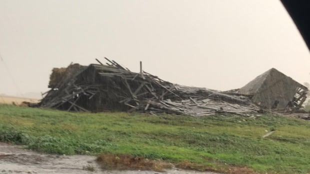 An image shared by Jeremy Cory on Twitter shows an old barn knocked down near Wawanesa, Man.
