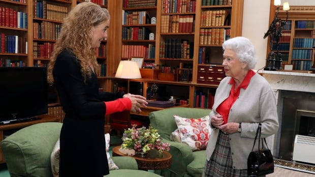 Julie Payette, left, meets Queen Elizabeth during a private audience at Balmoral Castle, Scotland, on Wednesday. Payette replaces Gov. Gen. David Johnston on Oct. 2.