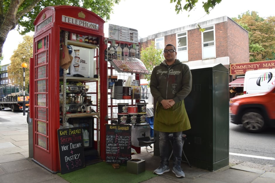 London phone booth cafe — Kape Barako
