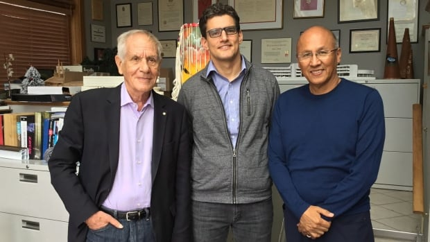 Douglas Cardinal (from left), David Fortin and Gerald McMaster are co-curators of the Indigenous design team to represent Canada at the 2018 Venice Architecture Biennale.