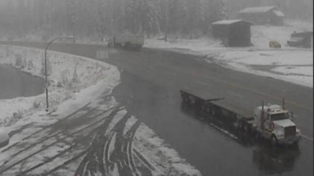 Highway 3 cameras caught overnight snowfall by Kootenay pass on Wednesday morning.