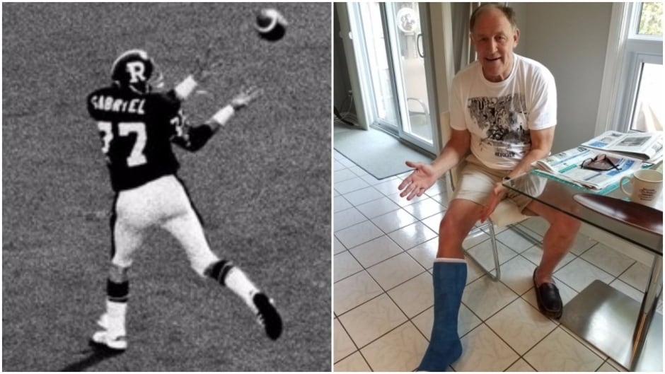 Former Ottawa Rough Riders receiver Tony Gabriel injured his ego and his ankle trying to recreate his famous 1976 catch.