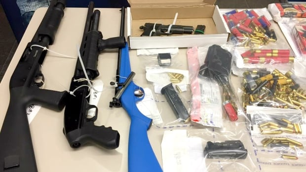 Some of the guns and ammunition seized by RCMP following a two-month investigation into the drug trade in Sylvan Lake.