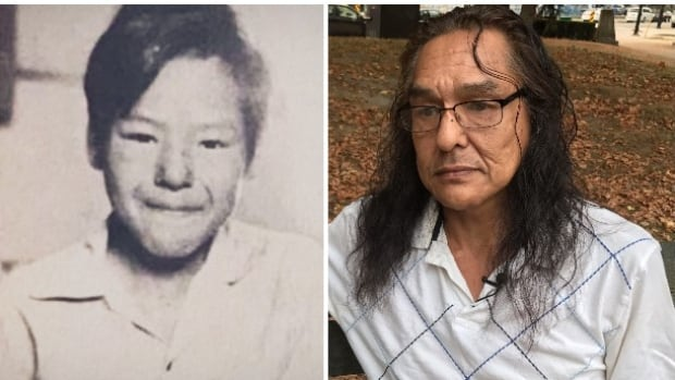 Bernard Andreason, then and now. Andreason, left, at 11 years old, when he attended Stringer Hall in Inuvik. He's now 56, and lives in Vancouver (right).