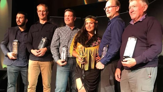 From left, Mike Russo, Alastair Smith, Jaret Slipp, Heather Dickson, Chris Lane and Bob Sharp collected awards at the Startup Canada awards ceremony in Whitehorse on Tuesday.