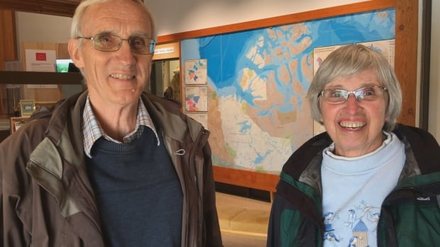 Barry and Barbara Edwards came to Yellowknife from Toronto to see the aurora. They couldn't find a hotel room, and ended up pitching a tent in the backyard of a bed and breakfast.