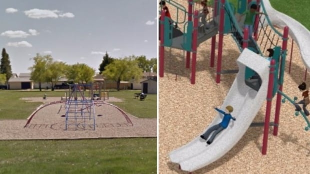 On the left is the old playground at Mabel Brown Park, on the right is what's being built.