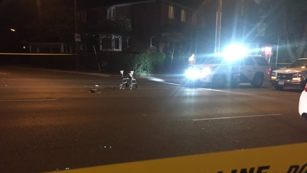 A female pedestrian was rushed to hospital Wednesday night following a collision on Broadview Avenue.