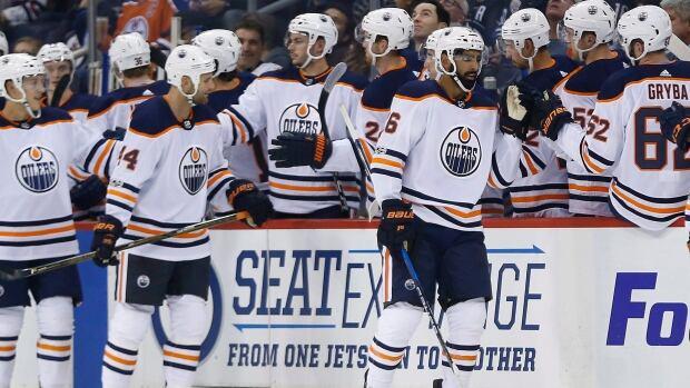 Edmonton Oilers' Jujhar Khaira (16) celebrates his goal against the Winnipeg Jets during the second period.
