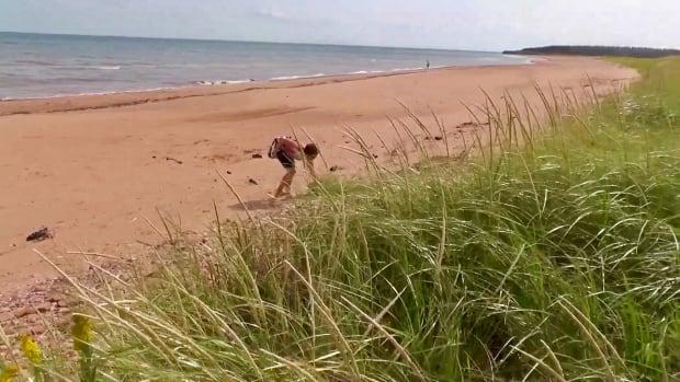 Karen Tuplin on the beach