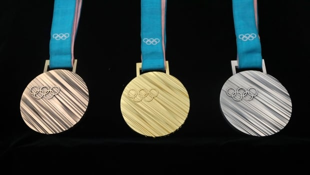 From left: the bronze, gold and silver medals for the 2018 Winter Olympics are seen at an unveiling ceremony in Seoul, South Korea on Thursday.