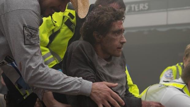 Jake Gyllenhaal appears in Stronger as Jeff Bauman, who lost his legs in the 2013 Boston Marathon bombing.