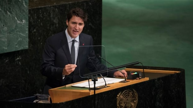 Prime Minister Justin Trudeau addresses the United Nations General Assembly in New York Thursday, where he spoke about his government's efforts to reconcile with Canada's Indigenous people.