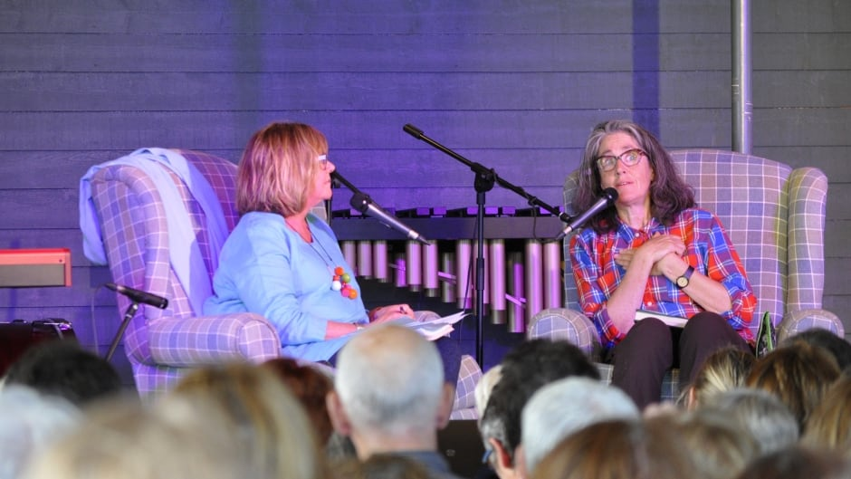 Shelagh Rogers interviews Kathleen Winter on-stage at the Writers at Woody Point Festival.