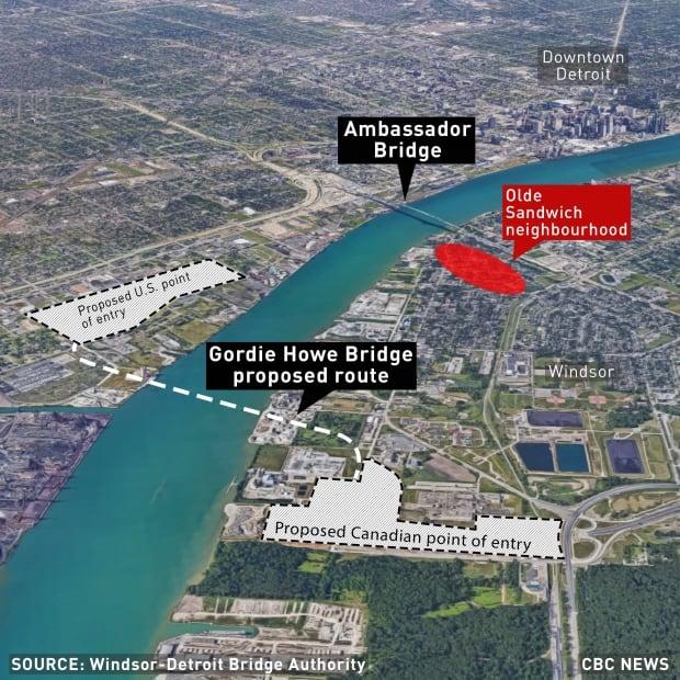 Map of Gordie Howe Bridge/Ambassador Bridge