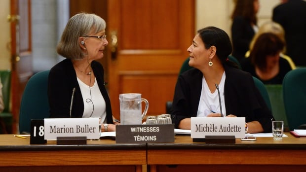 Commissioners of the National Inquiry into Missing and Murdered Indigenous Women and Girls, Marion Buller and Michelle Audette, appear as witnesses at a House of Commons committee on Parliament Hill.