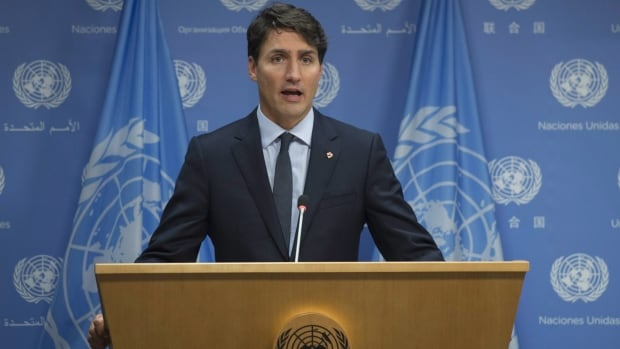 Prime Minister Justin Trudeau speaks during a news conference at the United Nations in New York City.