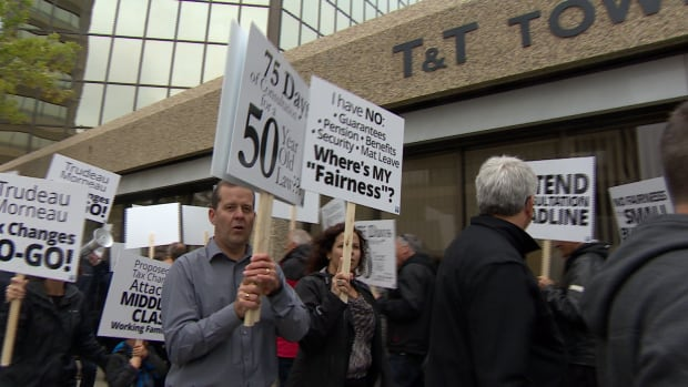 Business owners protested in downtown Saskatoon Thursday against proposed federal tax changes.
