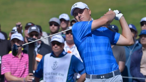 Jordan Spieth, shown at an earlier tournament, shot a 3-under 67 to remain the Fed Ex Cup favourite on Thursday while Kyle Stanley shot an opening-round best 6-under 64 at the Tour Championship.