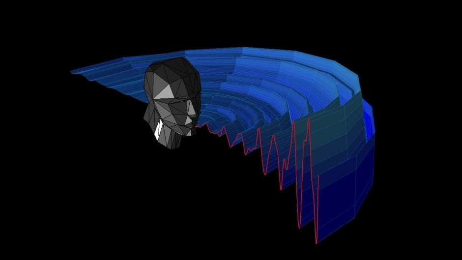 An echolocater's 'beam' of sound concentrates reflections in front of them.