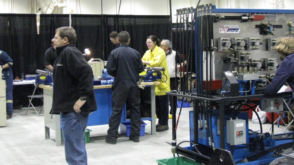 Jennifer Green in Calgary competing in the 2008 Industrial Millwright Competition at Skills Canada.