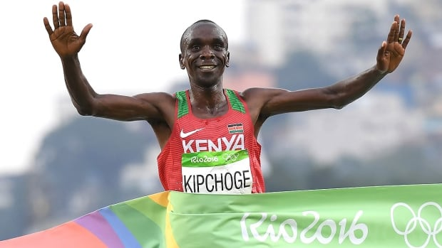Eliud Kipchoge, pictured here winning the men's marathon at the 2016 Rio Olympics, is the favourite to win Sunday's 44th Berlin Marathon. With a personal best of two hours three minutes five seconds, the Kenyan will attempt to break Dennis Kimetto's 2014 world record of 2:02:57, also set in the German capital.