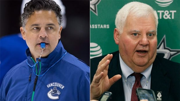 Travis Green, left, is getting his first opportunity as an NHL coach with the Vancouver Canucks, while Ken Hitchcock returns to Dallas where he guided the Stars to the Stanley Cup in 1999.
