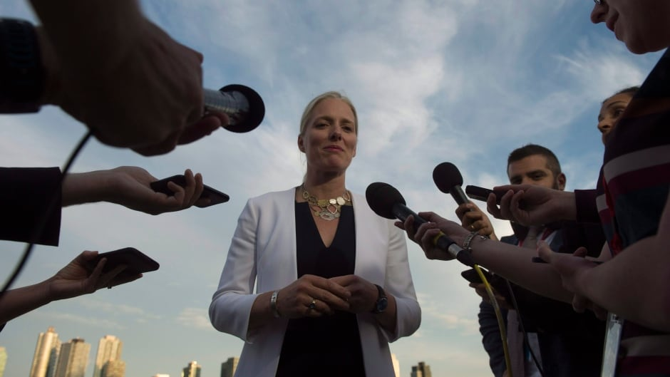 Minister of Environment and Climate Change Catherine McKenna speaks with the media at the United Nations Headquarters in New York City, Wednesday September 20, 2017. THE CANADIAN PRESS/