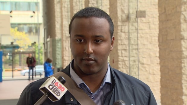 Bashir Mohamed spoke to Edmonton police commissioners Thursday about the history of racism faced by black Edmontonians.