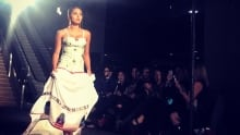 Couture dress honouring missing and murdered Indigenous women and girls by Medicine Crane
