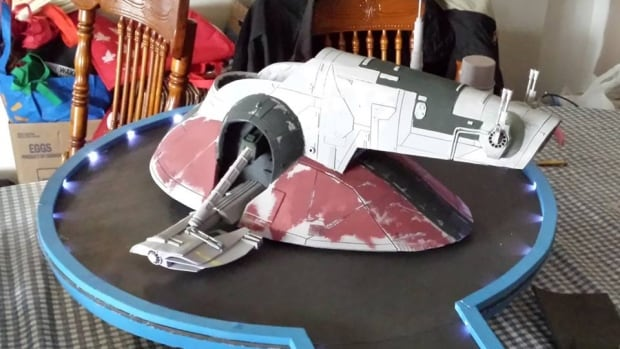 A work-in-progress foam replica of Slave 1, Boba Fett's ship from the Star Wars series, being made by Jamie Young of Atikokan's Foamtastic Creations. Young said the final product will make its public debut at Thundercon this weekend in Thunder Bay.