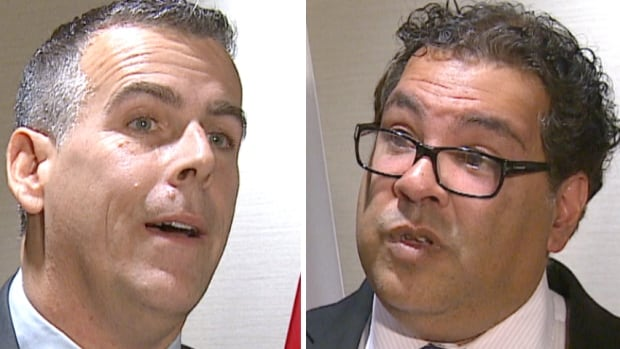 Calgary Mayor Naheed Nenshi, right, and Saint John Mayor Don Darling spoke to reporters Friday to reaffirm their cities' support for the Energy East pipeline project.