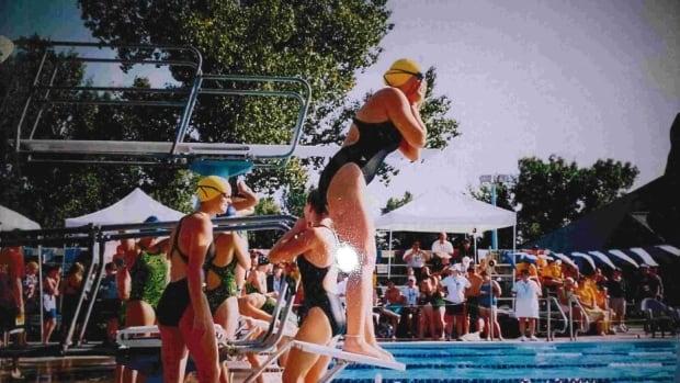 Miranda Biletski is shown on diving blocks at a swim meet in Assinboia, Sask., in 2004.