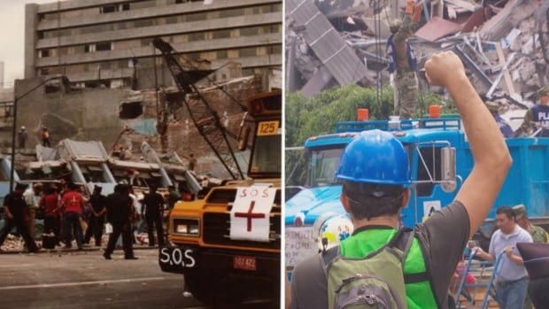 Then and now: Rescue workers and volunteers search collapsed buildings for survivors in September 1985 and September 2017