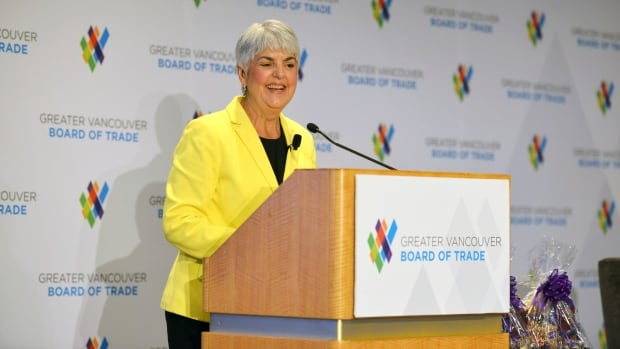 B.C. Finance Minister Carole James addresses the Greater Vancouver Board of Trade Sept. 22, 2017