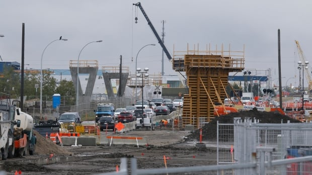 Construction on the Valley Line LRT, looking south on 75th Street from Wagner Road.
