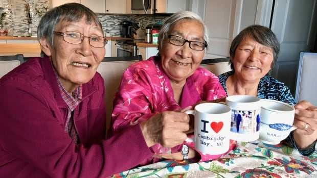 Mabel Etegik, Annie Atighioyak and Mary Avalak (left to right) are on the board of the Kitikmeot Heritage Society, which is preparing to launch Kaapittiaq, an Inuit-owned and operated coffee company in Cambridge Bay, Nunavut.