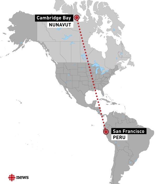 Map of San Francisco, Peru to Nunavut