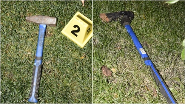 The Alberta Serious Incident Response Team says a man was shot by police after coming at them with this axe and hammer on Wednesday.