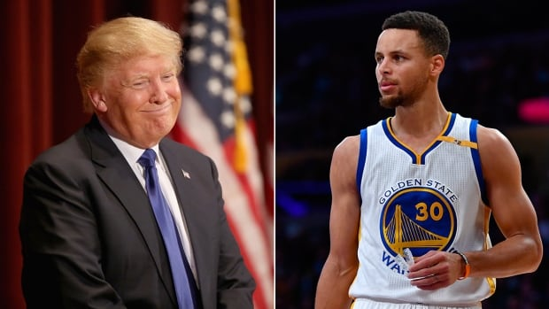 Donald Trump, left, tweeted that he had withdrawn the Golden State Warriors' invitation to the White House following comments made by player Stephen Curry, right.