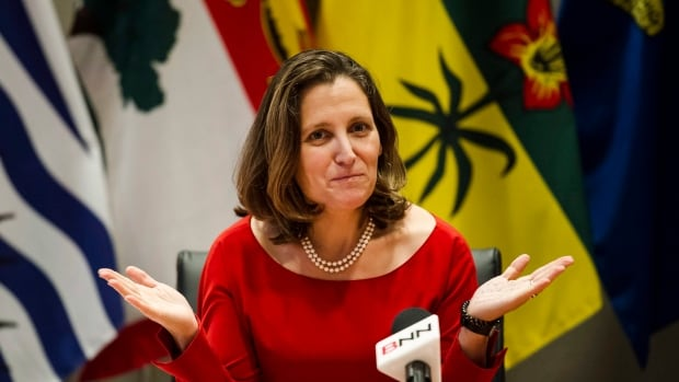 Minister of Foreign Affairs Chrystia Freeland leads the NAFTA council in discussion on the modernization of the North American Free Trade Agreement, in Toronto on Friday, a day before the third round of talks kicked off in Ottawa.