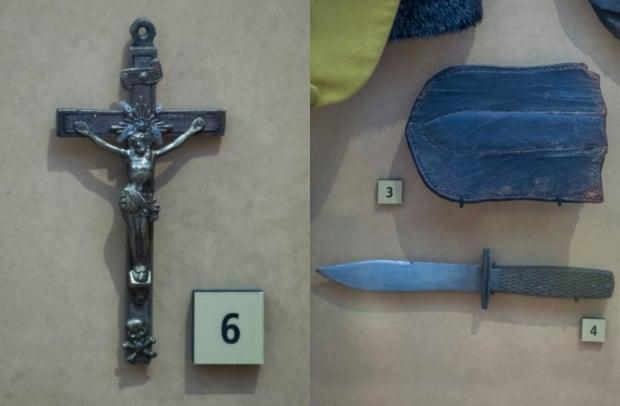 Louis Riel crucifix and knife