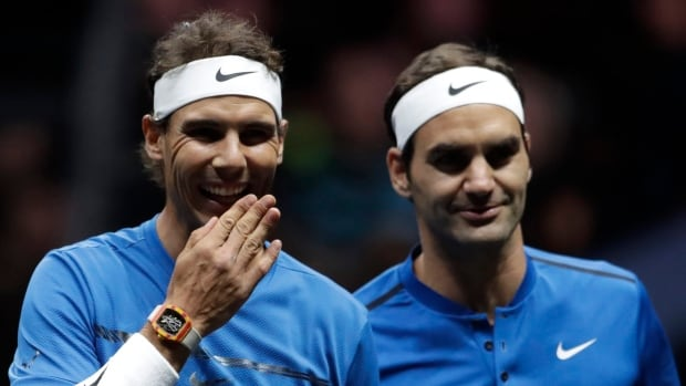 Team Europe's Rafael Nadal, left, and Roger Federer teamed up to win their doubles match 6-4, 1-6, 10-5 against team World's Sam Querrey and Jack Sock.